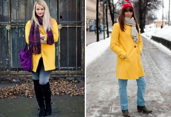 scarf to yellow coat