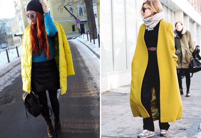winter yellow coat