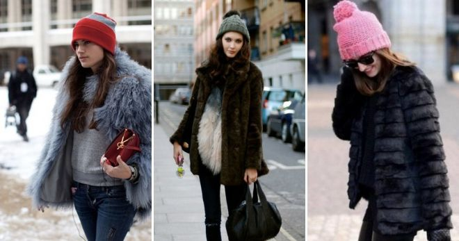 Kvinders hat med en lapel pels