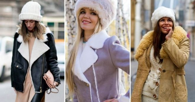 Kvinders hat med fåreskind frakke