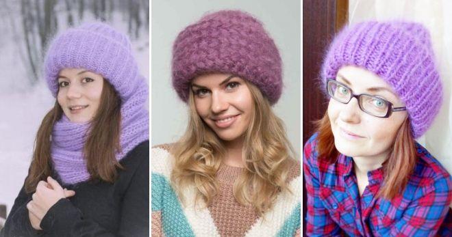 Mohair cap med lapel lilla