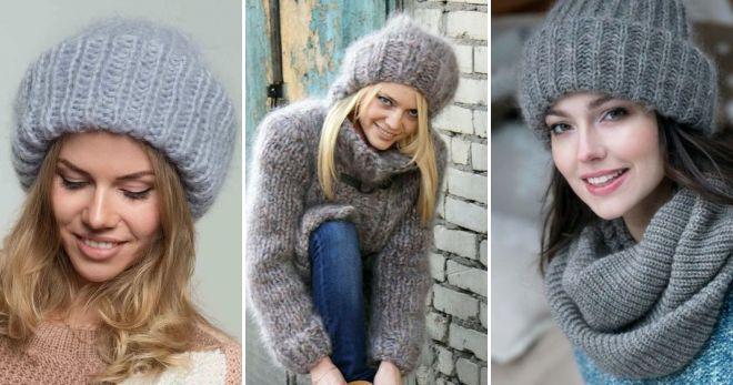 Mohair cap med lapel grå