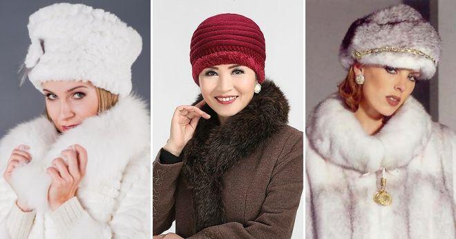 Strikket hat med pelsskrot