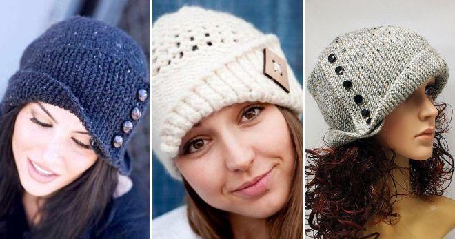 Вязаная шапка с пуговицами и отворотом