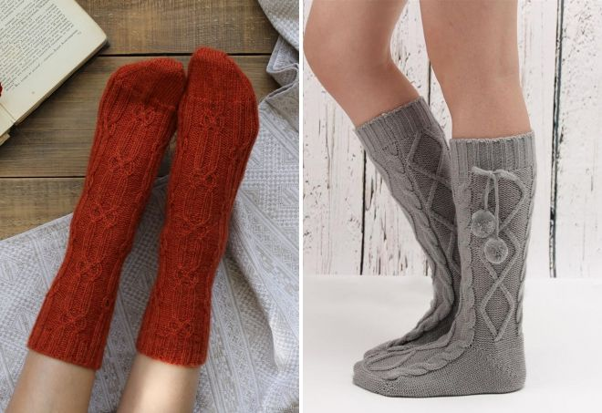 varme strikkede sokker