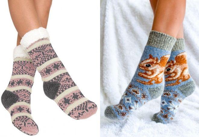 varme sokker med et mønster