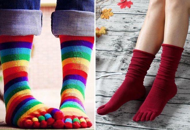 varme sokker med fingre