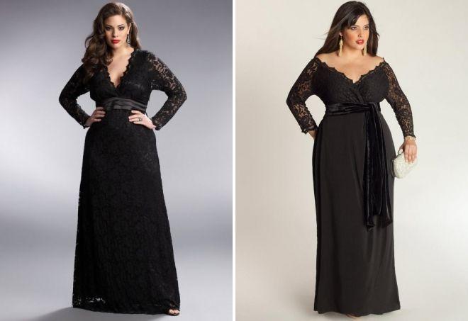 juoda vakarinė suknelė su ilgomis rankovėmis
