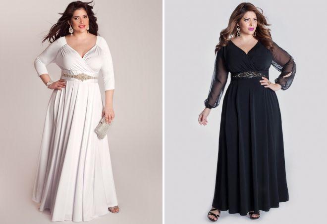 vakarinės suknelės su rankovėmis nutukusių moterų