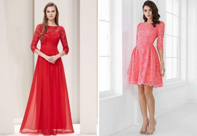 vakarinės suknelės su rankovėmis 3 4