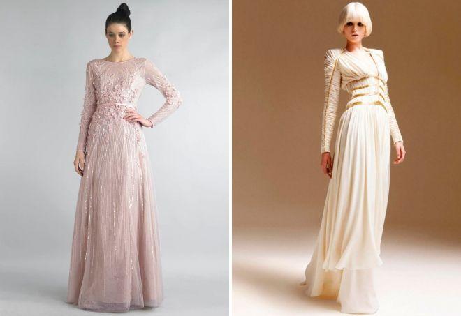 uždara vakarinė suknelė su ilgomis rankovėmis