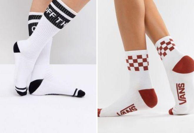 yüksək ağ çoraplar