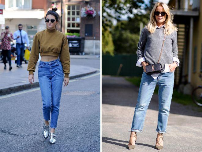 образы с джинсами мом и пуловером
