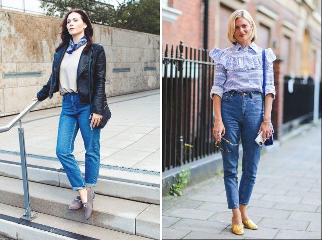 с чем носить mom jeans