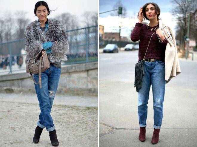 с чем носить джинсы мом зимой