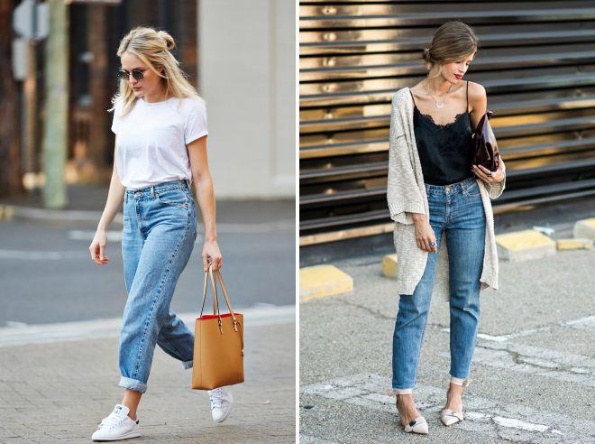 с чем носить мом джинсы летом
