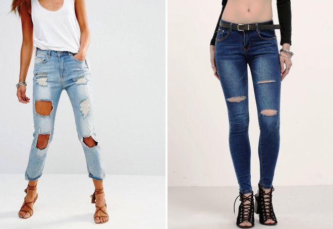 рваные джинсы слим