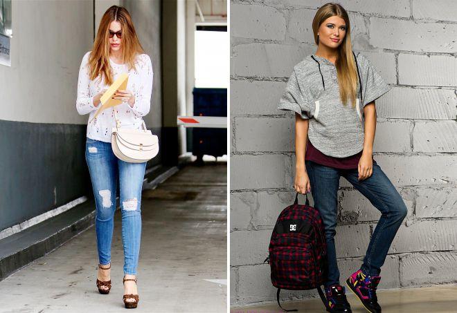 с чем носить женские джинсы слим