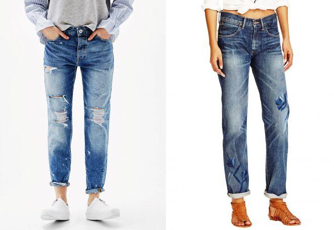 джинсы бойфренд слим