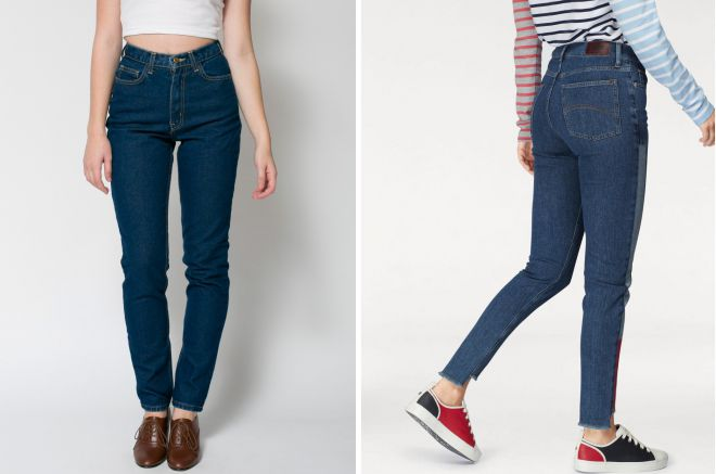 джинсы слим с высокой посадкой