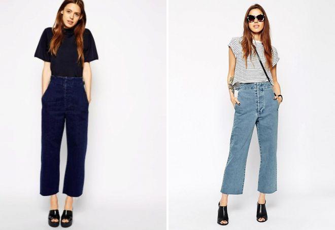 джинсы трубы с высокой талией
