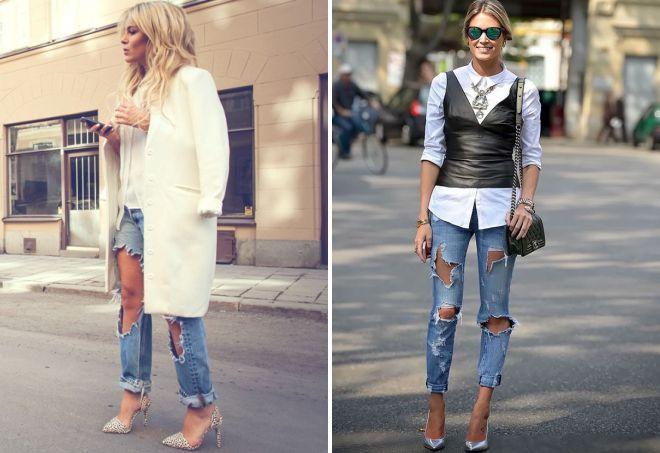 джинсы с большими дырками