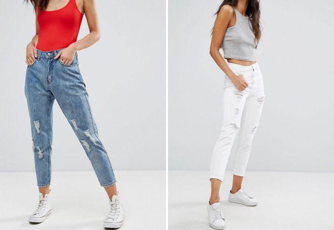 джинсы с потертостями и дырками