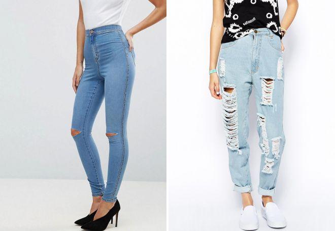 джинсы с завышенной талией и дырками