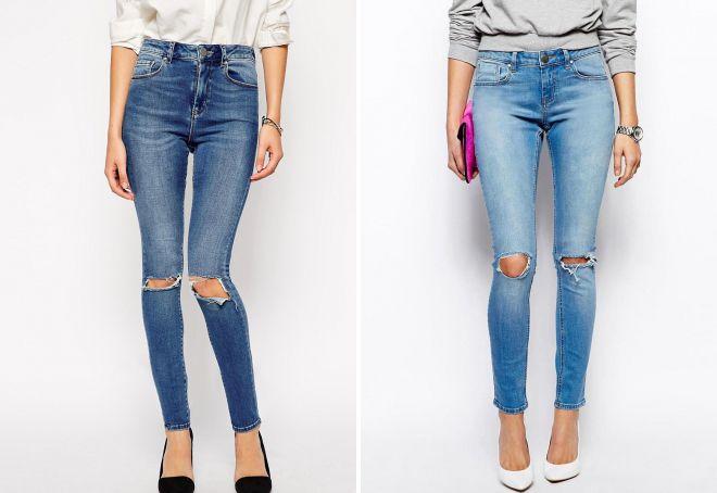 джинсы скинни с дырками