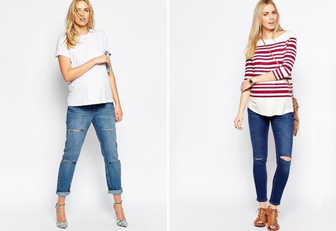 джинсы для беременных с дырками