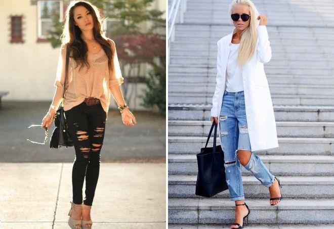 с чем носить джинсы с дырками