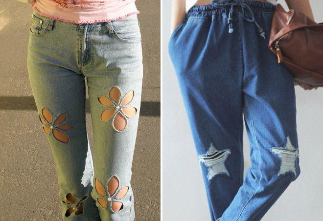 красивые дырки на джинсах
