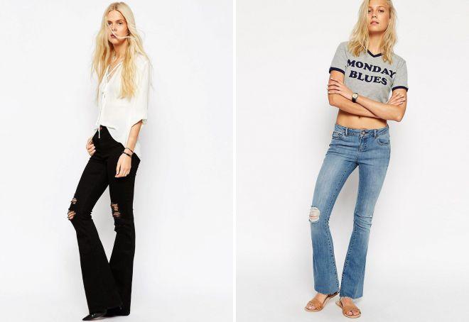 модные дырки на джинсах