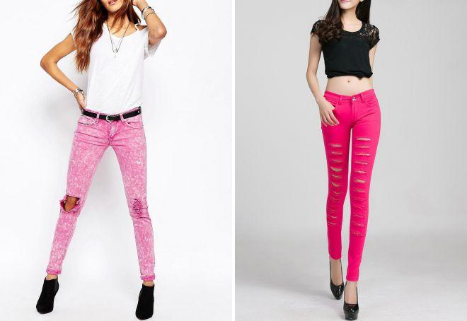 женские джинсы с дырками на коленях