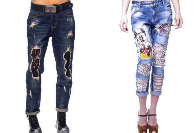 джинсы бойфренды с кружевом