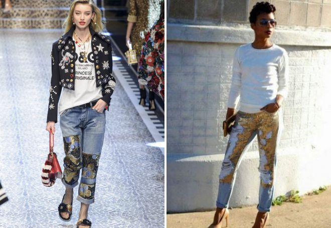 джинсы с кружевом образ