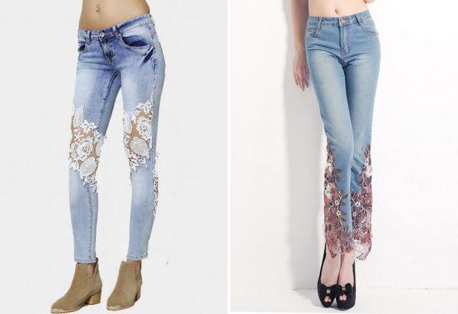 джинсы с кружевом 2018 мода