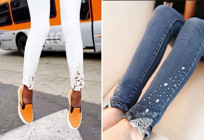джинсы с кружевом внизу