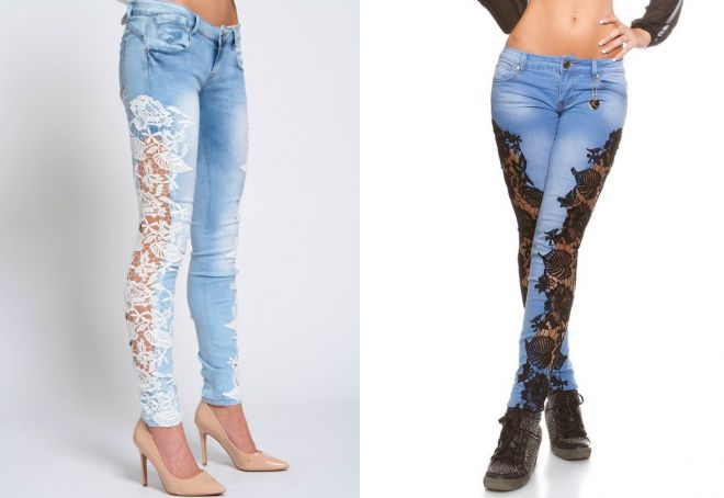 джинсы с кружевом по бокам