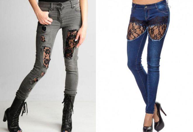 рваные джинсы с кружевом