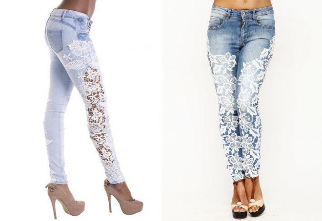 джинсы с белыми кружевами