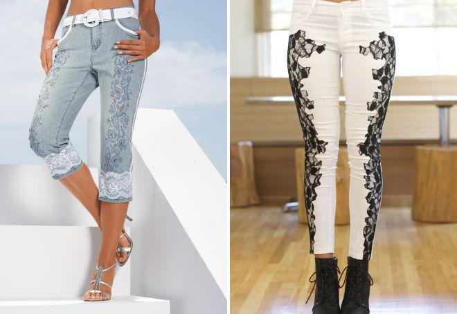 короткие джинсы с кружевом