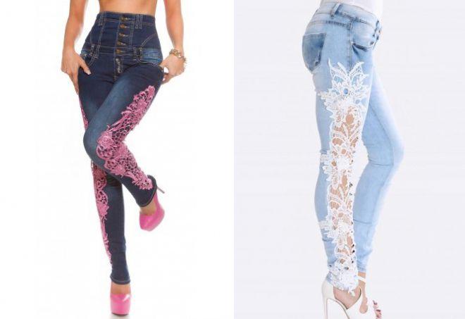 высокие джинсы с кружевом