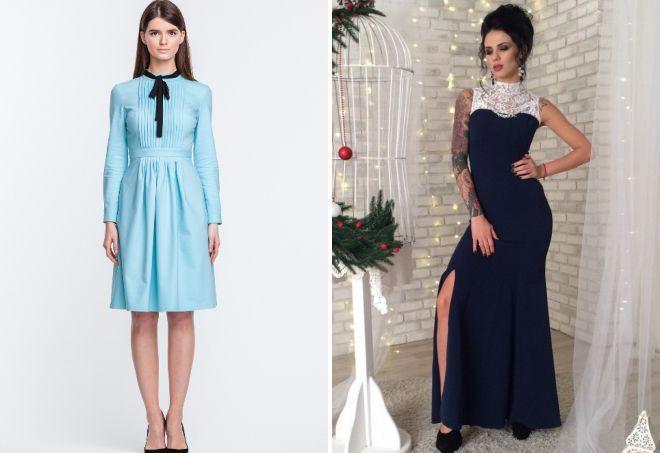 платье с воротником стойка и длинными рукавами