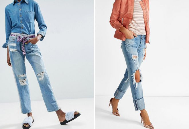 прямые рваные джинсы