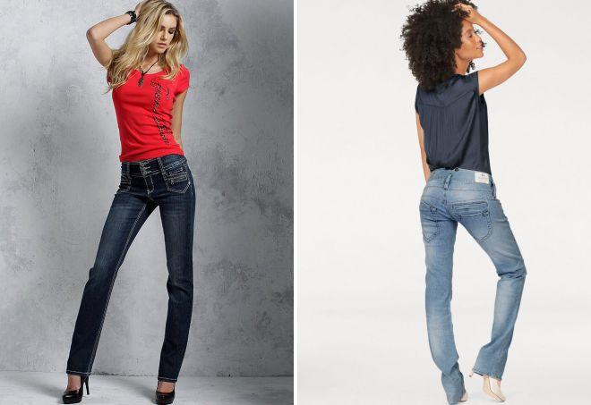 женские прямые джинсы стрейч
