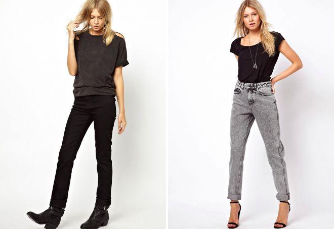 луки с прямыми джинсами для женщин 2018