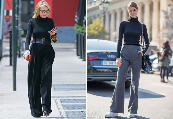 с чем носить женские широкие брюки