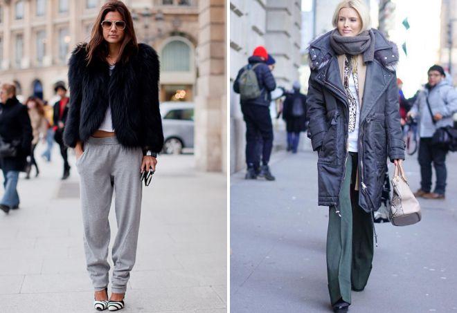 с чем носить широкие брюки зимой