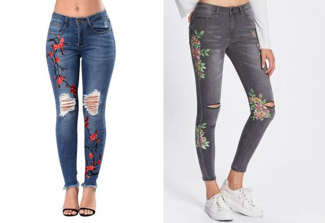 серые узкие джинсы